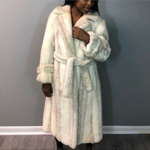 Jackets & Blazers - Tan and cream faux fur long coat